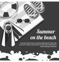 Travel concept on the beach black background vector