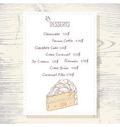 Dessert menu template with sweet vanilla cake vector