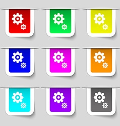 Gears icon sign set of multicolored modern labels vector