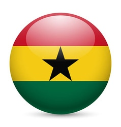 Round glossy icon of ghana vector