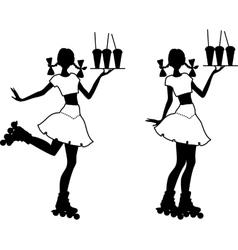 Silhouette of waiter girl vector image