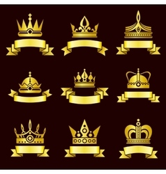 Gold crowns and ribbon banner set vector