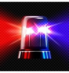 Red and blue emergency transparent flashing siren vector