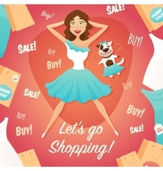 Shopping girl sale advertisement flat poster vector