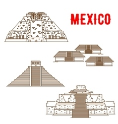 Ancient maya and incas culture landmarks of mexico vector