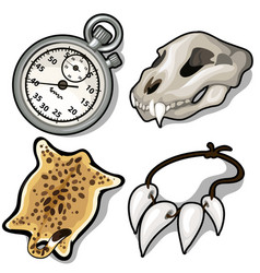 Animal skull skin necklace of fangs and timer vector