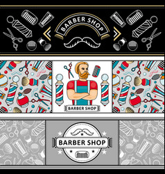 barber shop poster with symbol hipster man vector image vector image