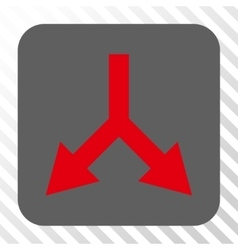 Bifurcation arrow down rounded square button vector