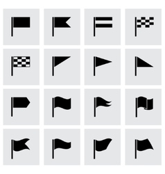 black flags icon set vector image
