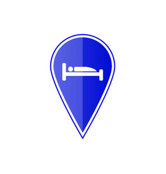 blue map pointer with hotel location vector image vector image