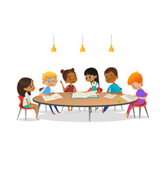 boys and girls sitting around round table vector image
