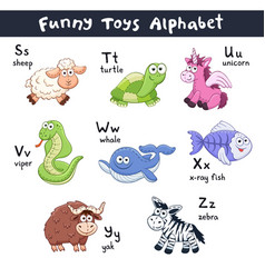 Cartoon animals alphabet vector