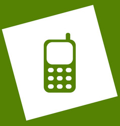 Cell phone sign white icon obtained as a vector