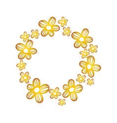 circle rustic flowers with petals decoration vector image