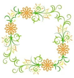 Doodle color abstract flower frame vector