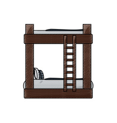 Double deck bed icon vector