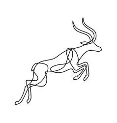 Endless line art of antelope vector