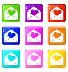 envelope with valentine heart icons 9 set vector image vector image