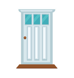 Front door with three small glasses and brown vector