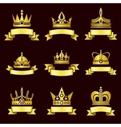 Gold crowns and ribbon banner set vector image vector image