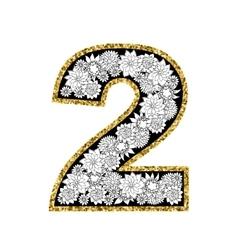 Hand drawn alphabet design digit 2 vector