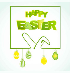 Happy easter background with ears rabbit and eggs vector