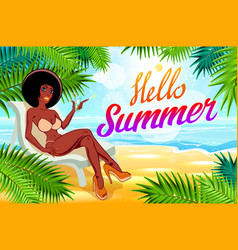 Hello summer lettering and woman on of the sea vector