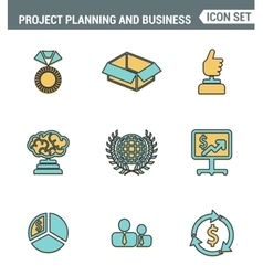 Icons line set premium quality of project planning vector image vector image