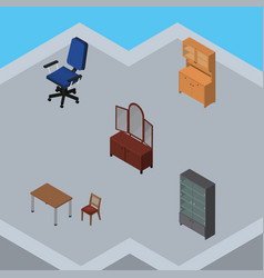 Isometric furniture set of drawer cupboard vector