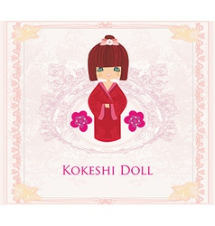 Kokeshi doll on the pink background with floral vector image vector image