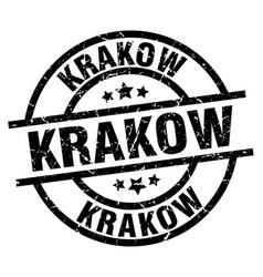 Krakow black round grunge stamp vector