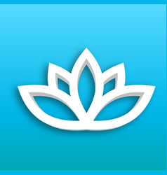 Lotus flower 3d icon on blue gradient background vector