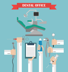 Modern dental office flat set design concept with vector