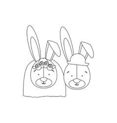 Monochrome contour with faces couple of married vector