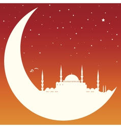Moon with mosque vector