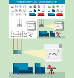 Presentation icons with projector vector