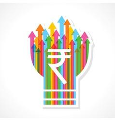 Rupee symbol on colorful arrow bulb vector