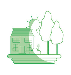 Silhouette house with trees and plant with flowers vector