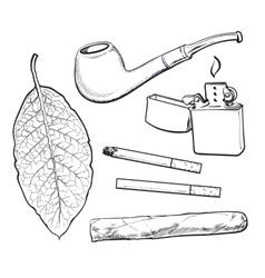 Sketch style smoking pipe lighter cigar vector