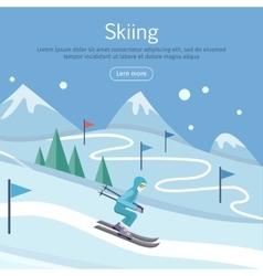 Skiing banner skier on snowy sope way in hills vector