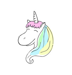 smiling unicorn with colorful mane vector image