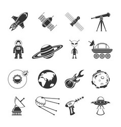 Space Black Icons Set vector image