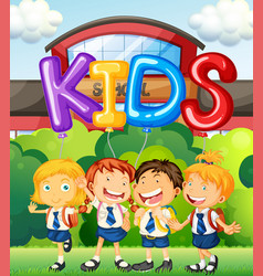 students at school and word for kids vector image vector image