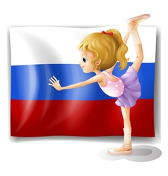 The flag of russia with a ballet dancer vector