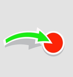 The green arrow points to the red button vector image vector image
