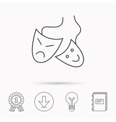 Theater masks icon Drama and comedy sign vector image