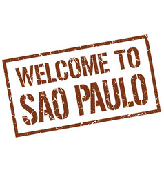 Welcome to sao paulo stamp vector