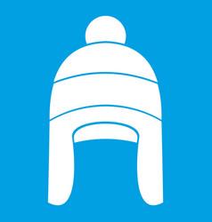 Winter hat icon white vector
