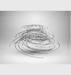 Wireframe mesh element abstract swirl form with vector
