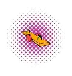 Yellow seesaw icon comics style vector